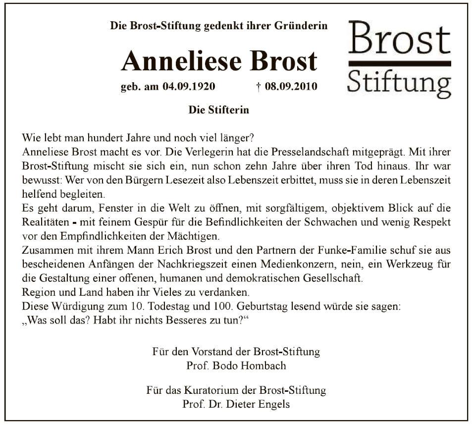 Anzeige WAZ Anneliese 200908
